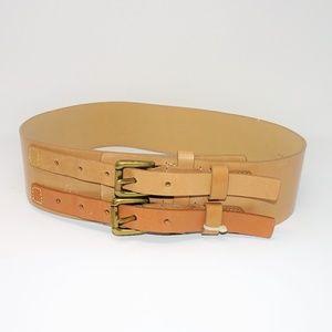 Via Spiga Waist Cincher Double Strap Leather Belt